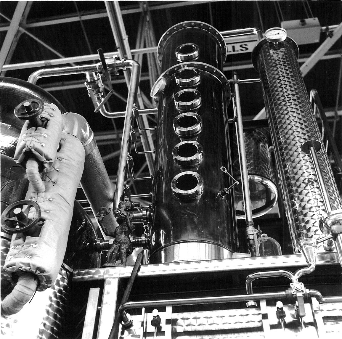 The still at St. George Distillery, as photographed with a weird old Rolleiflex. - PHOTO BY VIC STEWART