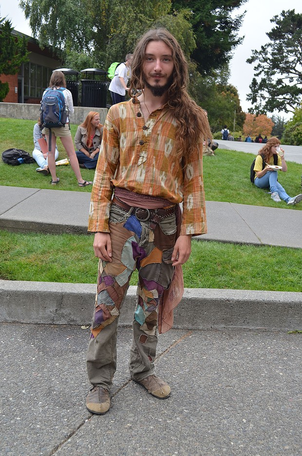 This junior forestry student from Sonoma, who goes by Tree Light, loves everything about Humboldt. He makes most of the clothes he needs, like all this happening here. - PHOTO BY SHARON RUCHTE