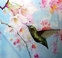 Tina Gleaves, Hummingbird Spring, paintings on silk at Blake's Books