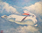 "Toni Magyar's ""Sky Bunny"" soars alongside the artist's handcrafted jewelry at the Lighthouse Grill in Trinidad this month."