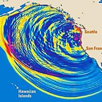 Tsunami Terrors Tsunnami range simulation. Courtesy USGS.