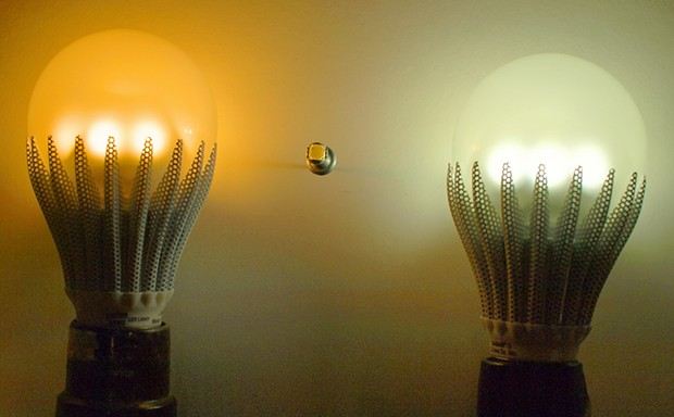"Two 7-watt ""GeoBulbs"" from the Fortuna company, C. Crane (ccrane.com). - PHOTO BY BARRY EVANS"