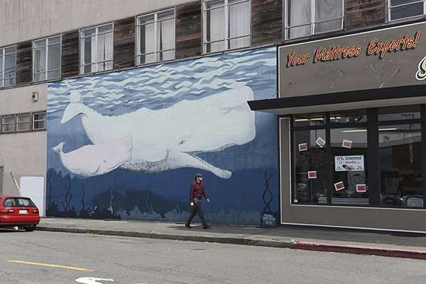 """""""Two Whales"""". See mural #30 on map. - PHOTO BY DREW HYLAND"""