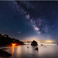 North Coast Night Lights: Beach Bonfire, Meteor and Milky Way
