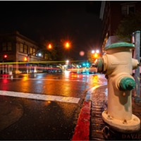 North Coast Night Lights: Rainy Night at 5th and F in Eureka