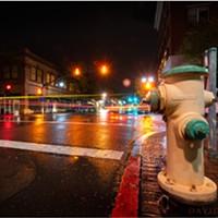 North Coast Night Lights: Rainy Night at 5th and F in Eureka