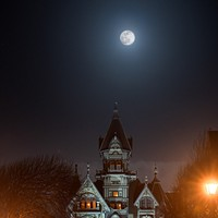 North Coast Night Lights: Snow Moon over Carson Mansion