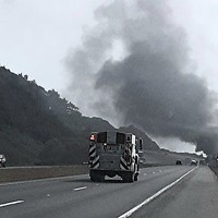 Vehicle Fire on Southbound 101 Near Clam Beach