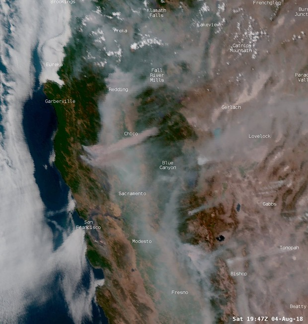 Satellite imagine of wildfire smoke. - NWS