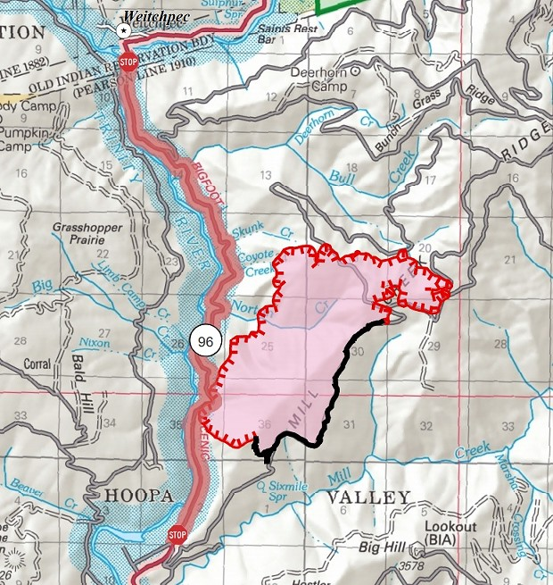 Mill Creek Fire map. - INTERAGENCY INCIDENT MANAGEMENT TEAM