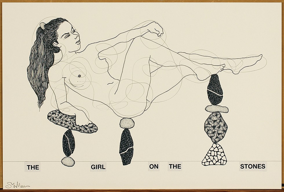 """Steven Vander Meer's """"The Girl on the Stones,"""" graphite and India ink on paper, 2018. - COURTESY OF THE ARTIST"""