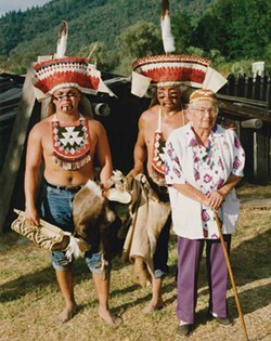 L to R: Merv George Jr., his father, Merv George Sr., and his grandmother Winnie George, after a jump dance ceremony in the early 1990s. - PHOTO COURTESY MERV GEORGE JR.