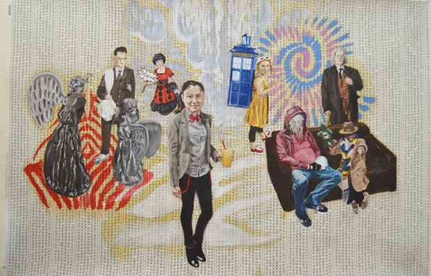 """Madelyn Covey's """"Doctor Who Tableau,"""" oil on wallpaper, 2017. - COURTESY OF THE ARTIST"""