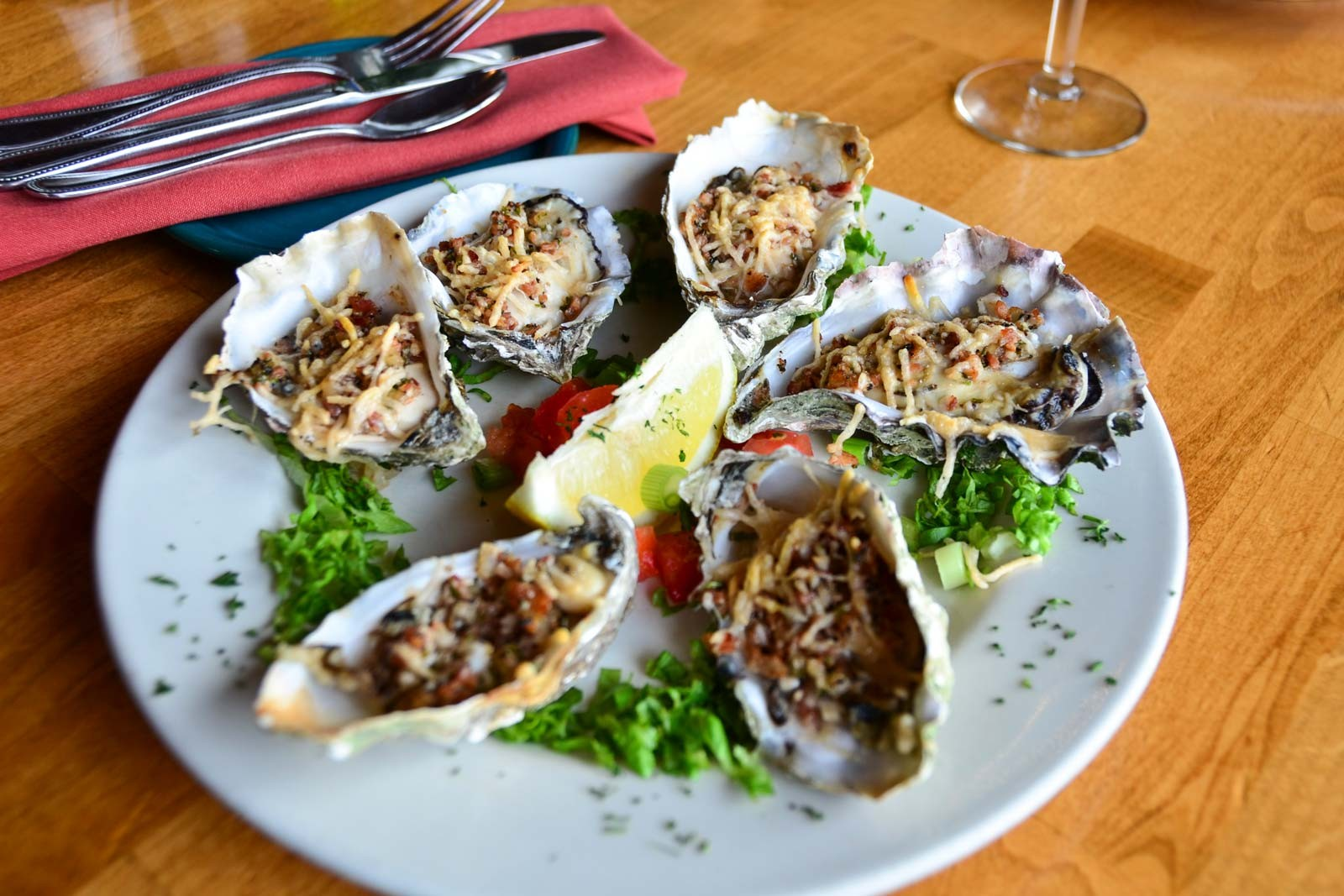 The fruits of the bay: oysters at Café Waterfront. - PHOTO BY DREW HYLAND