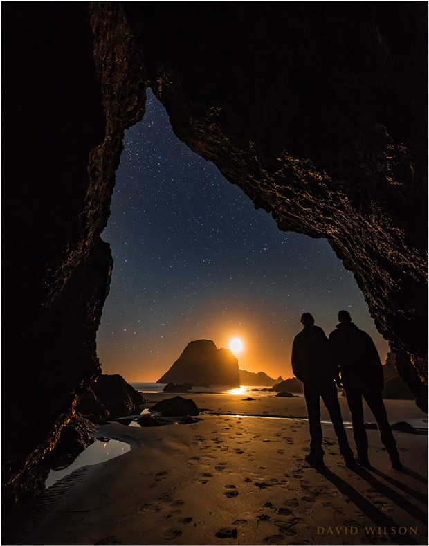 My brother and I watched the crescent moon set before taking the Milky Way photos. In gathering enough light to illuminate the interior and see the stars this well, the moon's crescent shape became blown out in the highlights. - DAVID WILSON