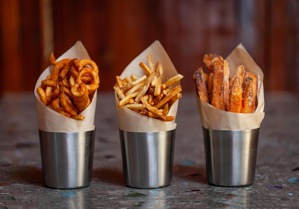 Fry Trifecta: curly, thin-cut and sweet potato. - AMY KUMLER