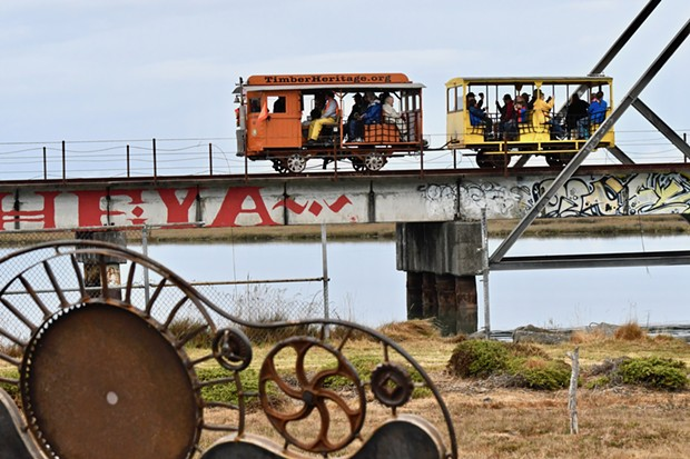 The Timber Heritage Association began a new speeder train crew car tour in Eureka on Sept. 29 to complement its existing speeder runs in Loleta and Samoa. People rode all day from under the Samoa Bridge, across the Eureka Slough bridge, and along Humboldt Bay for the 40-minute tours. - JOSE QUEZADA