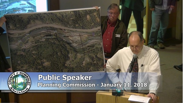 Humboldt Bay Municipal Water District General Manager John Friedenbach and staff address the County Planning Commission in January with concerns about Mercer-Fraser Co.'s proposal. - SCREENSHOT