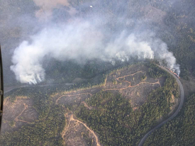 Cal Fire - AERIAL VIEW OF THE GREEN HILL FIRE.