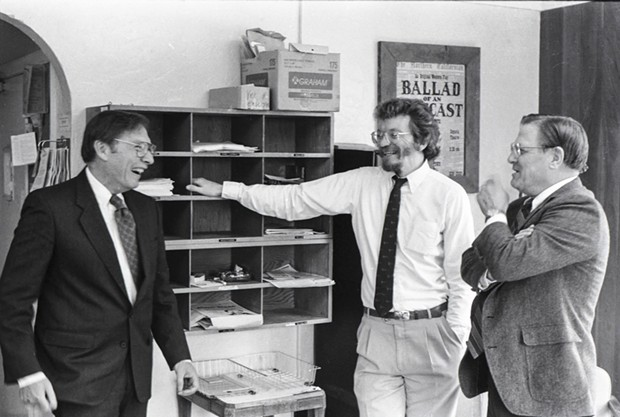 Alann Steen (left) in 1992 at HSU as a Hadley Lecture speaker, following his release from captivity, with Mark Larson (center) and Howard Seemann of the journalism department. - COURTESY OF MICHAEL HARMON