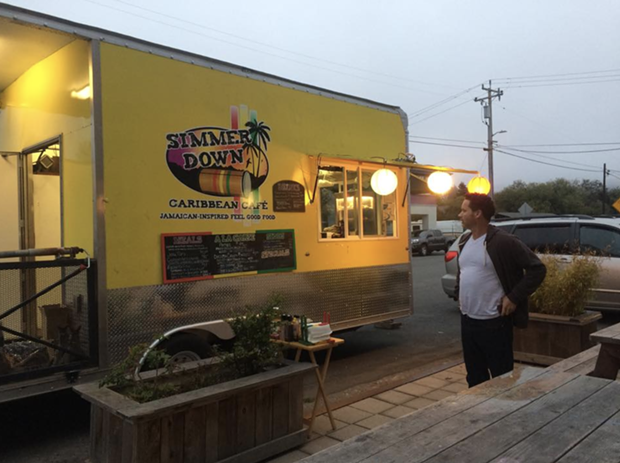 The Simmer Down Caribbean Cafe truck parked by the Arcata Playhouse for an event. - FACEBOOK, COURTESY OF PATRICK GASKINS