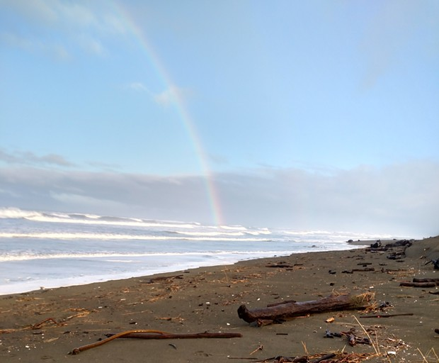 A rainbow captured over Mad River Beach this morning. - COURTESY OF LYNETTE MATTHEWS