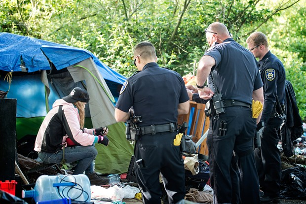 A scene from the May of 2016 eviction operation at the Devil's Playground. - FILE
