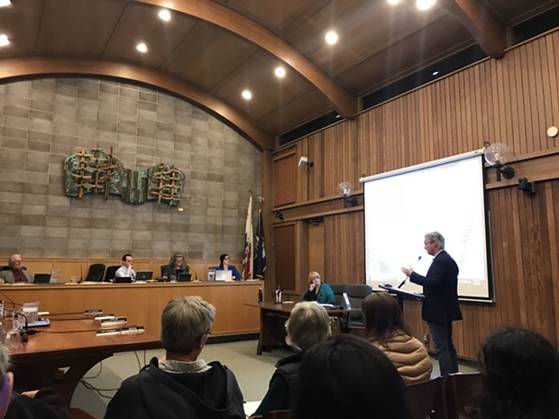 AMCAL's David Moon addresses the Arcata City Council. - IRIDIAN CASAREZ