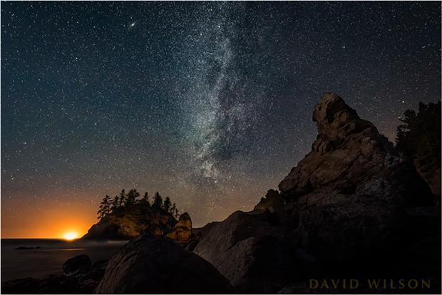 "The Grandmother abides. In this much shorter exposure, the stars and other celestial objects have been stopped. Sister Galaxy Andromeda is the bright, smeared ""star"" near the top to the left of the Milky Way. Trinidad, Humboldt County, California. February 6, 2019. - DAVID WILSON"