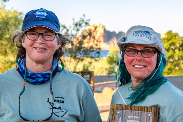 Doherty and Easter at Lake Powell, Utah, on June 9, 2018, with their Catfish Cazadoras plaque. - PHOTO BY JOHNATHAN KAMIERCZAK