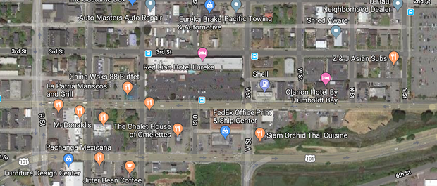 The intersections of Fourth Street at V and R streets are prone to backups during the morning commute. - GOOGLE MAPS