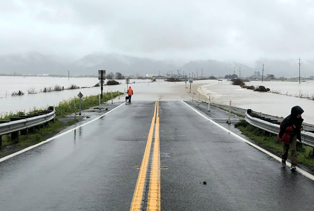 The Eel River, flooding. - CALTRANS