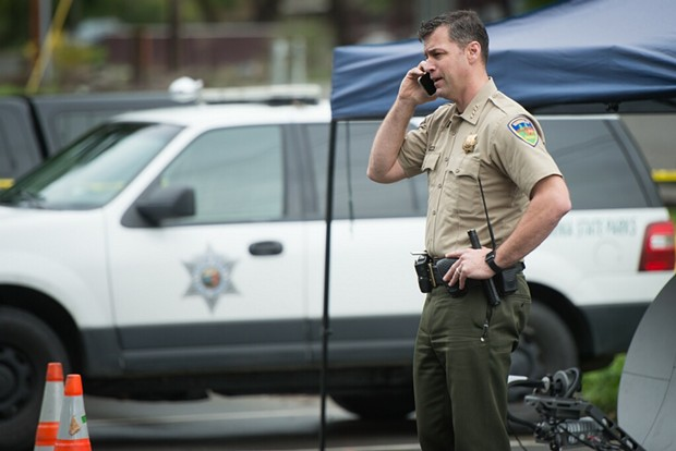 Humboldt County Sheriff William Honsal at the incident command center near Benbow. - MARK MCKENNA