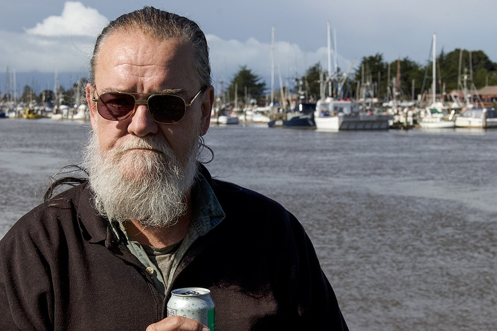 Robert Stretton, a recent addition to Humboldt County's homeless population, on the Eureka waterfront. - PHOTO BY T.WILLIAM WALLIN