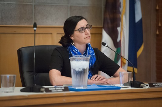 Arcata City Councilmember Sofia Pereira listens to speakers during the public comment section for non-agenda items. All of the speakers asked for the council to call for an outside agency to take on the investigation of the murder of HSU student Josiah Lawson. - MARK MCKENNA