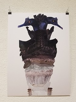 """Skylar Ritter's """"Value Exercise: Birds,"""" magazine collage, 2019. - SUBMITTED"""
