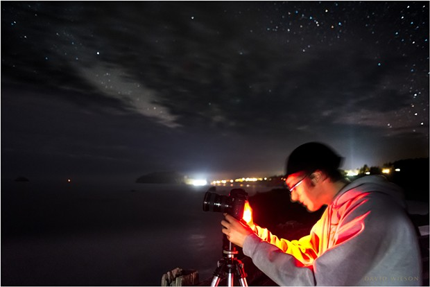 Jake takes a starry night photo overlooking the Pacific Ocean along Scenic Drive, Humboldt County, California. - DAVID WILSON