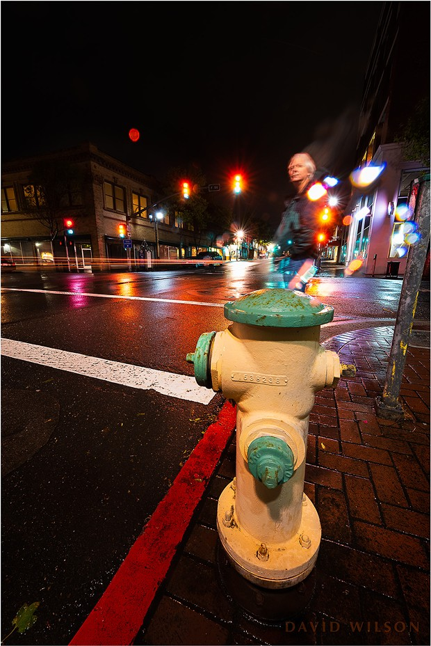 Hmm, the stars gotta be around here somewhere ... rainy night self-portrait on the corner of 5th and F, Eureka, Humboldt County, California. A long exposure from the night of May 16, 2019. - DAVID WILSON