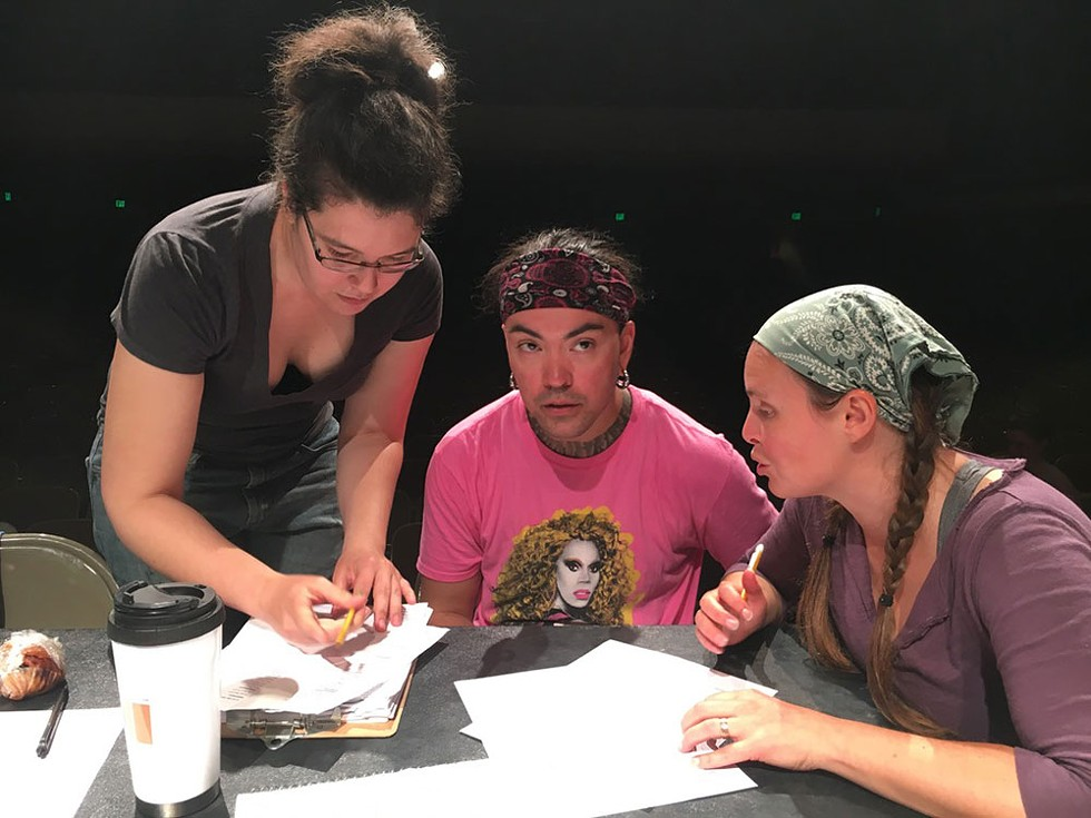 Kelly Hughes, Tigger Bouncer Custodio and Nanette Voss deliberate over casting. - PHOTO BY JENNIFER FUMIKO CAHILL