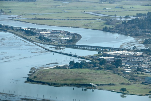 Eureka Slough during a recent king tide gives a glimpse of what sea-level rise will look like around Humboldt Bay. - JENNIFER SAVAGE