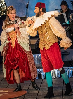 """Lynnie Horrigan and Pratik Motwani sing Tim Gray's """"She Never Has Time For Me"""" from The Comedy of Errors (2013). - PHOTO BY MARK LARSON"""
