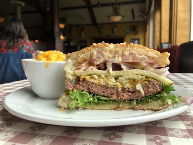 Inside the Beyond Beef burger at Shamus. - PHOTO BY JENNIFER FUMIKO CAHILL