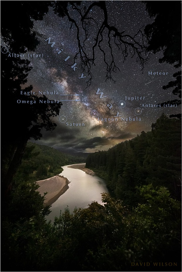 From the immensity of space, the distant core of our galaxy rises over the Eel River. We will never understand it all, but I did mark a few points along the way. From the Avenue of the Giants, Humboldt County, Earth. - DAVID WILSON