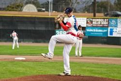 Kyle Pruhsmeier sets to pitch during Saturday's game. - MATT FILAR