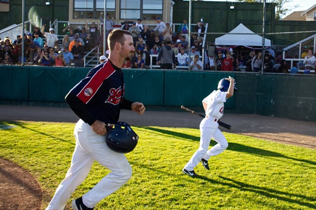 Cleary and Bat Boy heading back after his lead-off homer. - MATT FILAR