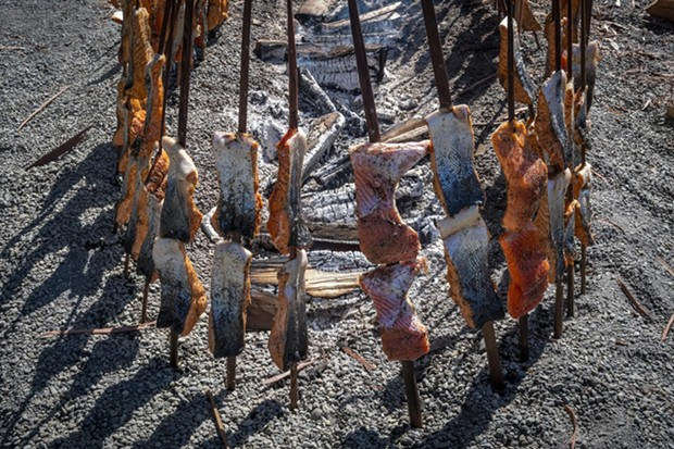 The traditional fire pit featured salmon steaks skewered on redwood sticks for the festival lunch menu. - PHOTO BY MARK LARSON