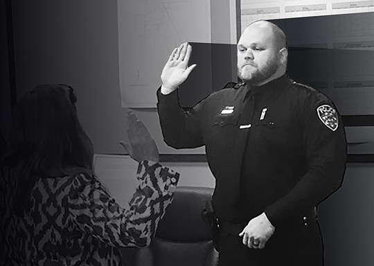 Jacob Jones is sworn in as a Willits police officer June 12. - FACEBOOK/WILLITS POLICE DEPARTMENT. PHOTO ILLUSTRATION BY JONATHAN WEBSTER.