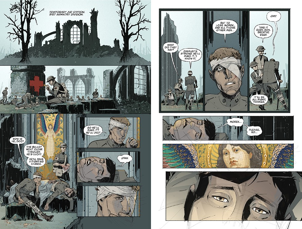 """Ekedal: """"This page is literally the fading of the light. From this point on, the color palette drains out and we don't see that color return until the very end."""" - COMIC WRITTEN BY CHAG LOWRY, ILLUSTRATED BY RAHSAN EKEDAL"""