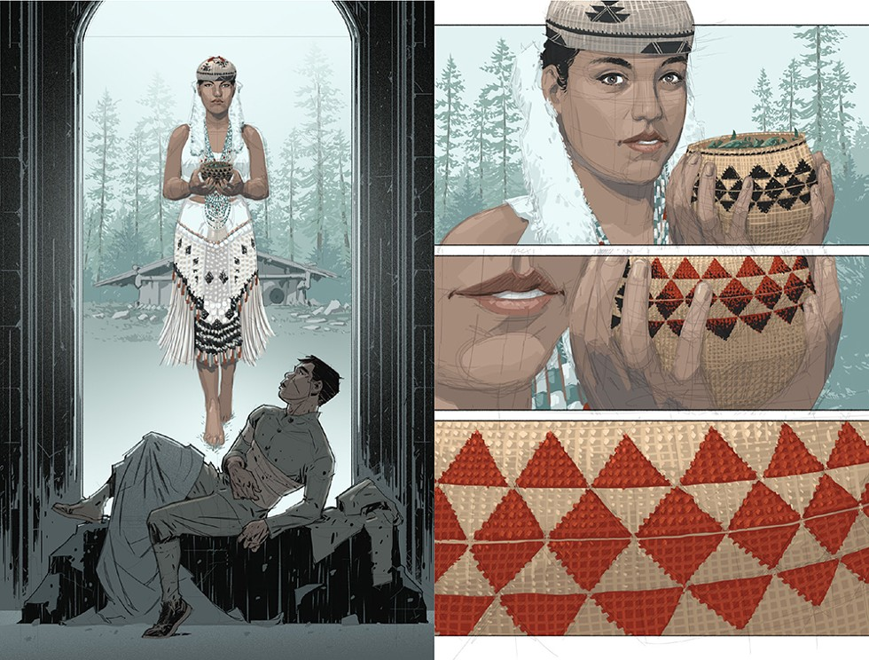 "Lowry: ""Charley sees our Yurok version of spiritual medicine (or an Angel). I used the design on the basket the young woman is holding as a transition to the same design on page 104's first panel that's on the men's head piece. This design also appears to Charley on the leaf on page 112. Every design or image we have in Yurok and Native cultures has meaning, sometimes multiple meanings."" - COMIC WRITTEN BY CHAG LOWRY, ILLUSTRATED BY RAHSAN EKEDAL"
