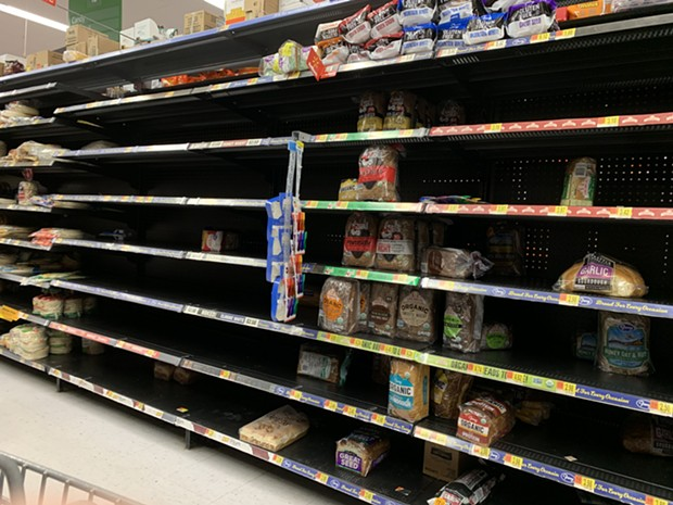 The barren shelves at Eureka's WalMart on Tuesday evening. - SUBMITTED